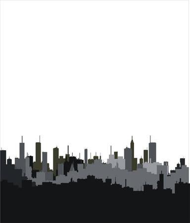 sea pollution: building silhouettes