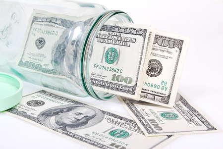 stash: dollar banknotes in the glass jar Stock Photo