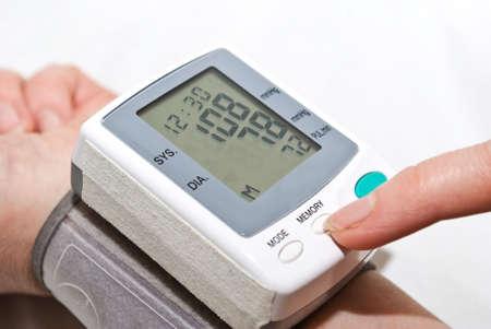 Process of blood pressure examination Stock Photo