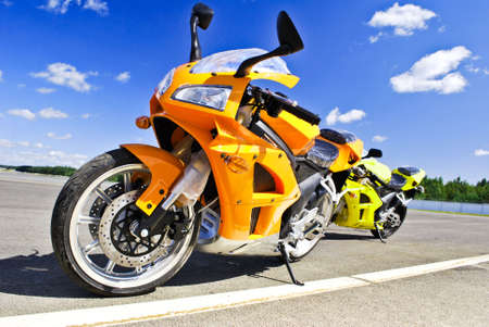 Motorcycles  standing on the road