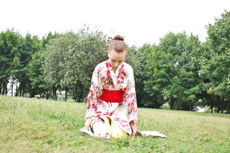 caucasian model dressed up in traditional japanese clothing Stock Photo - 5558542