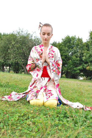 caucasian model dressed up in traditional japanese clothing Stock Photo - 5558540