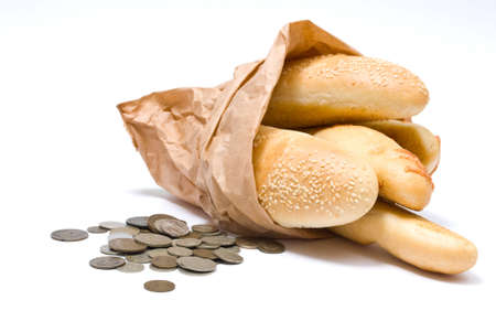 bread slice: Bread and money