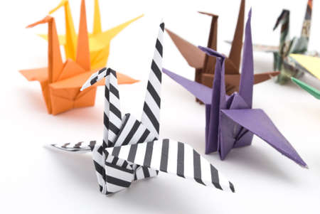 origami birds on a white background Stock Photo - 6571358