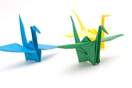 origami birds on a white background Stock Photo - 6571195
