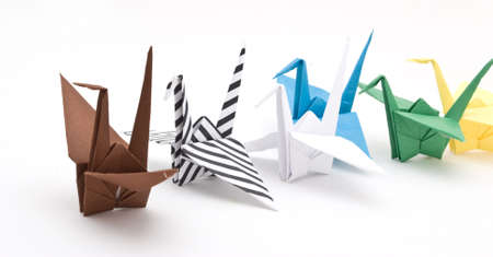 origami birds on a white background Stock Photo - 6571333