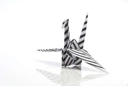 uccello origami:  Origami uccello su uno sfondo bianco