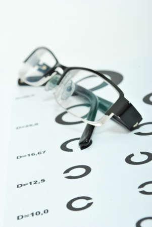 oculista:  Alfabeto de prueba en la habitaci�n de oculist con gafas