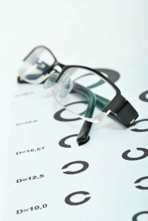oculist:  Test alphabet in oculist room with glasses Stock Photo