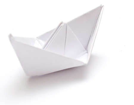 paper fold: Paper ship Stock Photo
