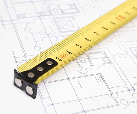 cinta de medir: cinta - medida y dibujos  Foto de archivo