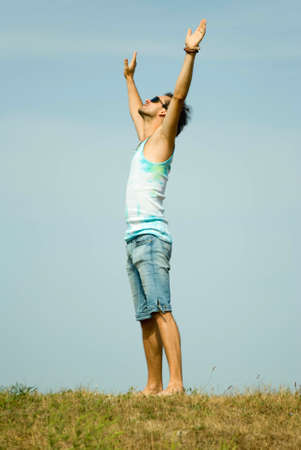 Man with his arms wide open Stock Photo - 7725731