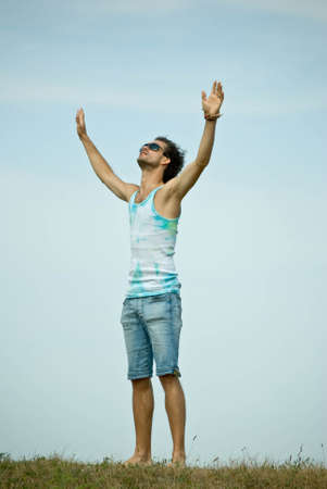 Man with his arms wide open Stock Photo - 7725728