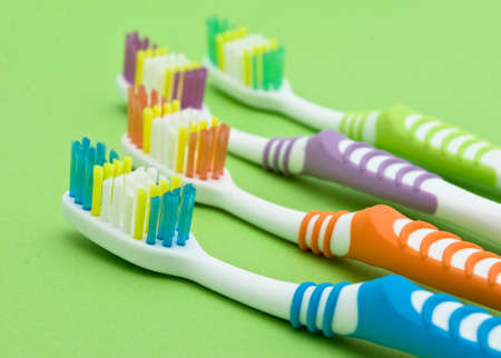 Colourful toothbrushes photo