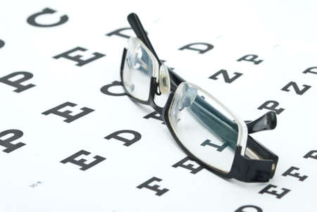 Glasses with eye chart isolated on white Stok Fotoğraf