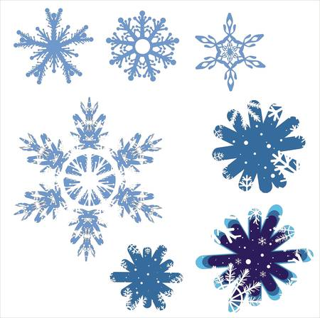 january: Snowflake winter set illustration