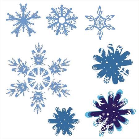 styczeń: Zimowe pÅ'atka Å›niegu ustawić ilustracji