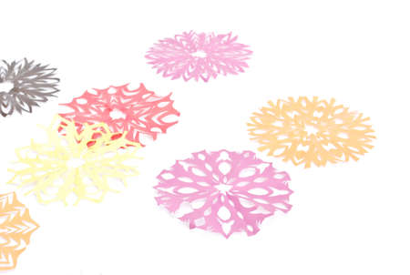 Origami Snowflakes On The White Background Stock Photo Picture And