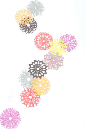 Origami snowflakes on the white background