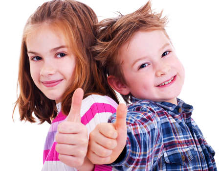 child model: Happy boy and girl  thumbs up