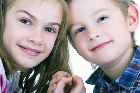 Lovely sweet kids. On white background photo