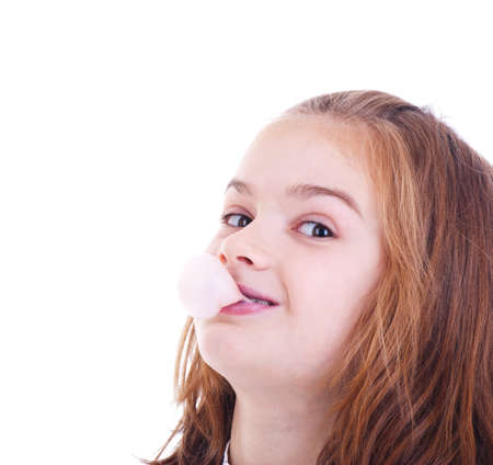 Young girl blowing bubble gum Stock Photo