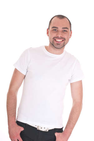 Portrait of the young happy smiling man isolated on a white background Stock Photo - 11357178