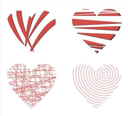set icon -- hearts Stock Photo - 11984613