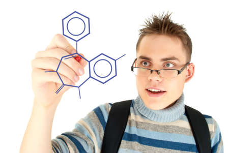 Student writing scientific formula on the whiteboard Stock Photo - 12790823