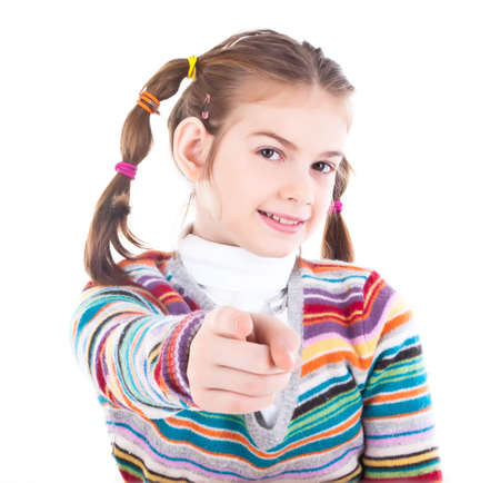picture of teenage girl pointing her finger photo