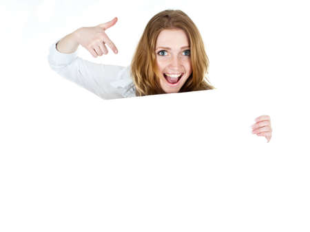 business woman displaying a banner add isolated over a white background Stock Photo - 13190736