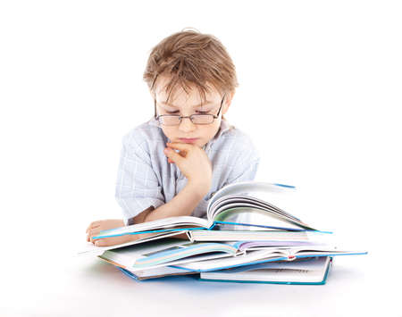 Boy reading a book photo