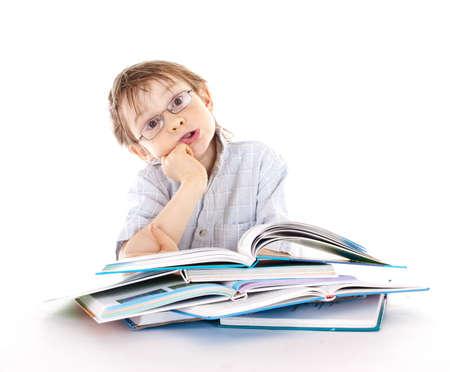 kindergartner: Boy reading a book
