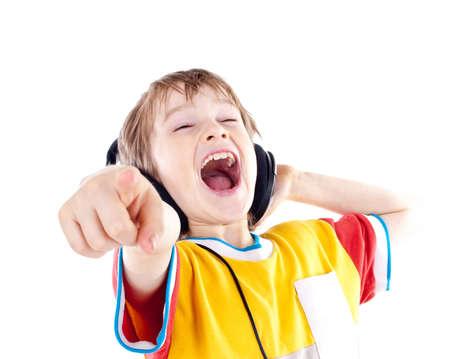 Portrait of happy teenage boy with headphones Stock Photo - 13190910