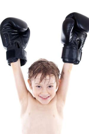 happy little boy boxer winner photo