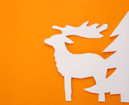 Template Christmas cards. Merry Christmas! New Years deer on a red background. photo