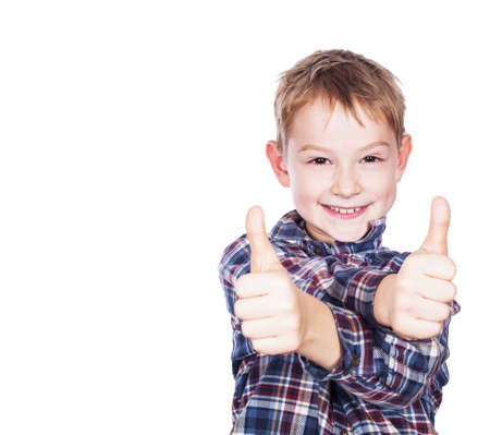 Boy with the thumbs up against a white background photo