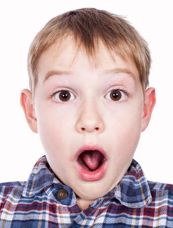 crewcut: Portrait of a young boys silly face Stock Photo