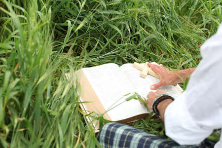 soul searching: Man reading bible in summer
