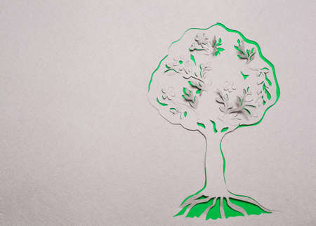 Image of abstract green tree handmade.Eco background. photo