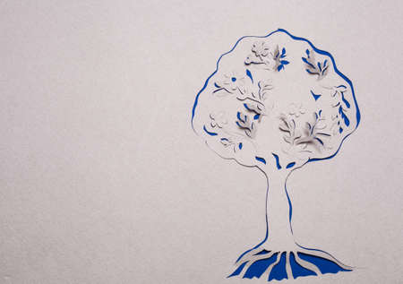 Image of abstract blue tree handmade.Eco background. photo