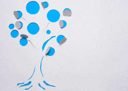 Image of abstract blue tree handmade.Eco background. Stock Photo - 15918909