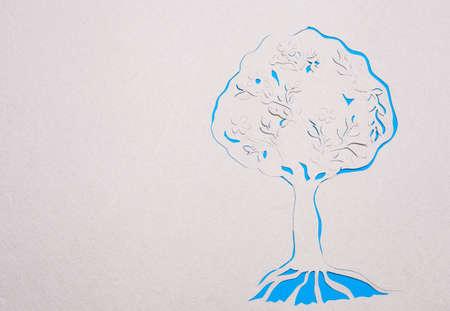 Image of abstract blue tree handmade.Eco background. Stock Photo - 15918896
