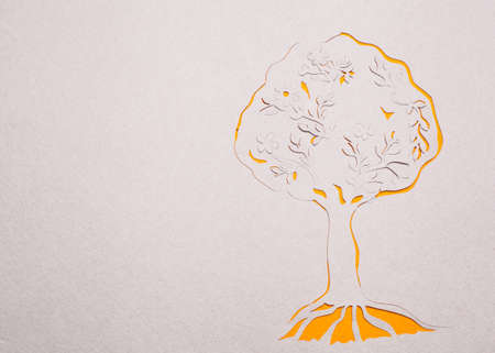 Image of abstract yellow tree handmade.Eco background. photo