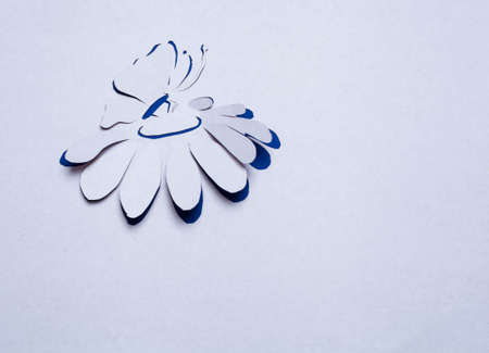 Image of abstract blue flower and butterfly  handmade.Eco background. photo