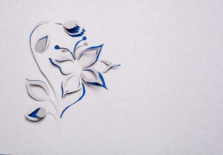 Image of abstract blue flower handmade.Eco background. photo