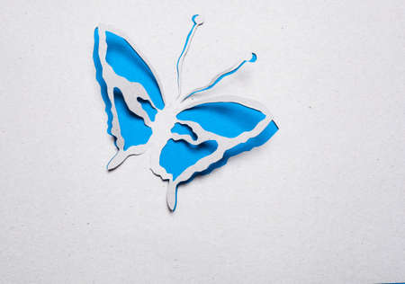 Image of abstract blue butterfly handmade.Eco background. photo