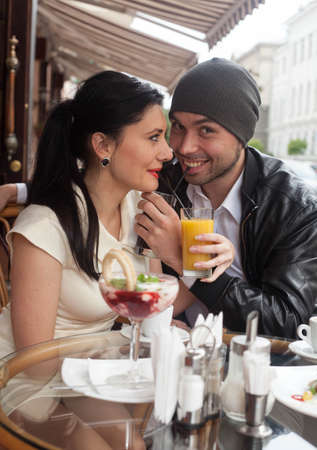 Happy Beautiful couple relaxing on the open air Stock Photo - 16636648