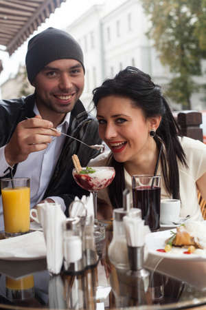 Happy Beautiful couple relaxing on the open air Stock Photo - 16636651