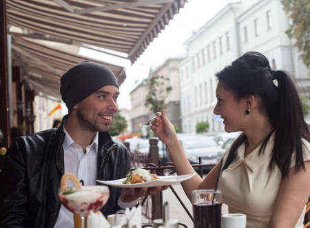 Happy Beautiful couple relaxing on the open air Stock Photo - 16636635
